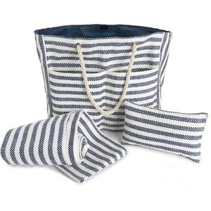 Blue & White Striped Beach Tote with Pillow & Mat